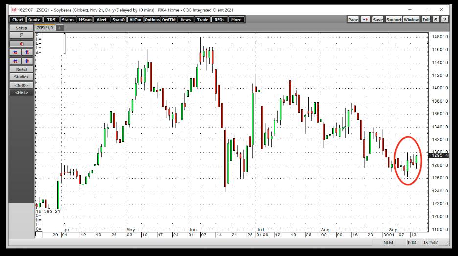 大豆期货日线图,来源:CQG